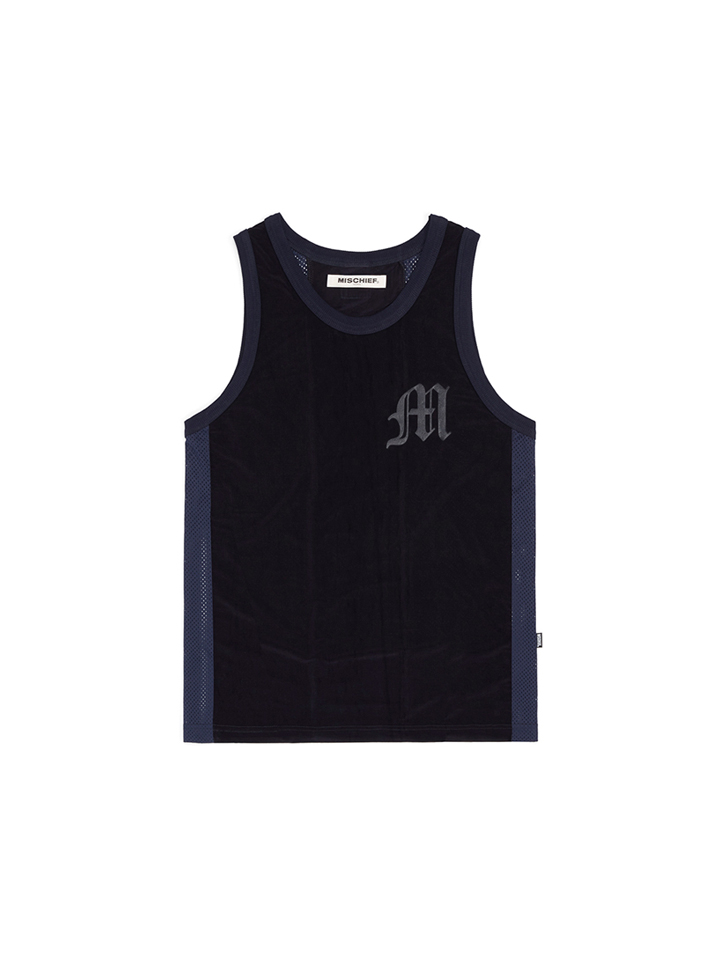 MESH SLEEVELESS JERSEY_navy