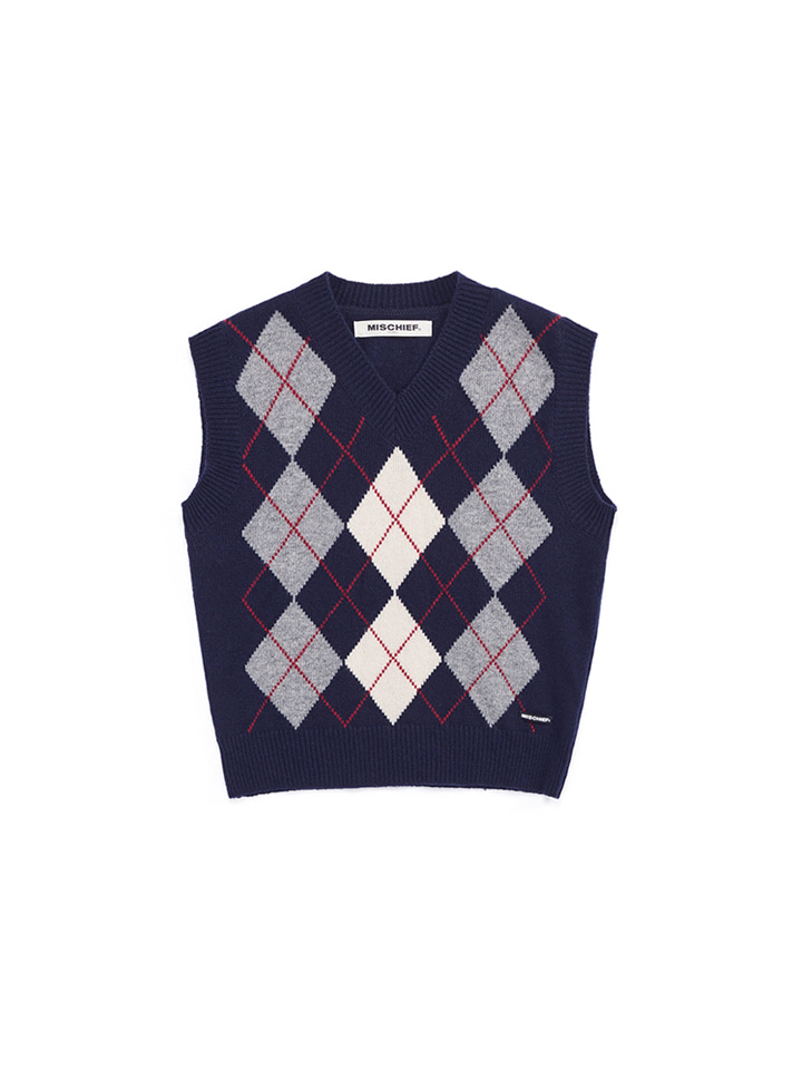 ARGYLE WOOL VEST_navy