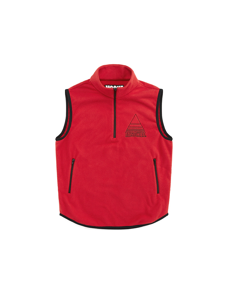 FLEECE HALF ZIP VEST_red