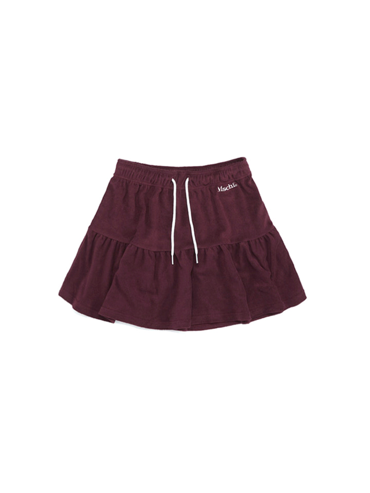 TERRY TRACK SKIRT_burgundy