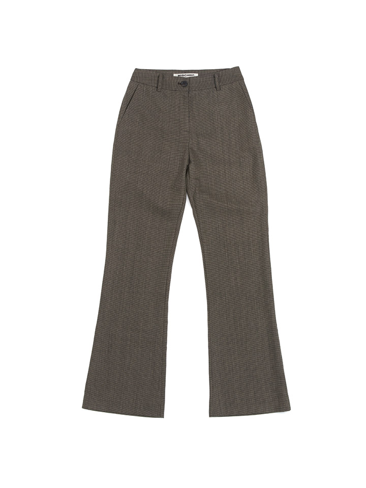 JACQUARD WOOL SLACKS_black/beige