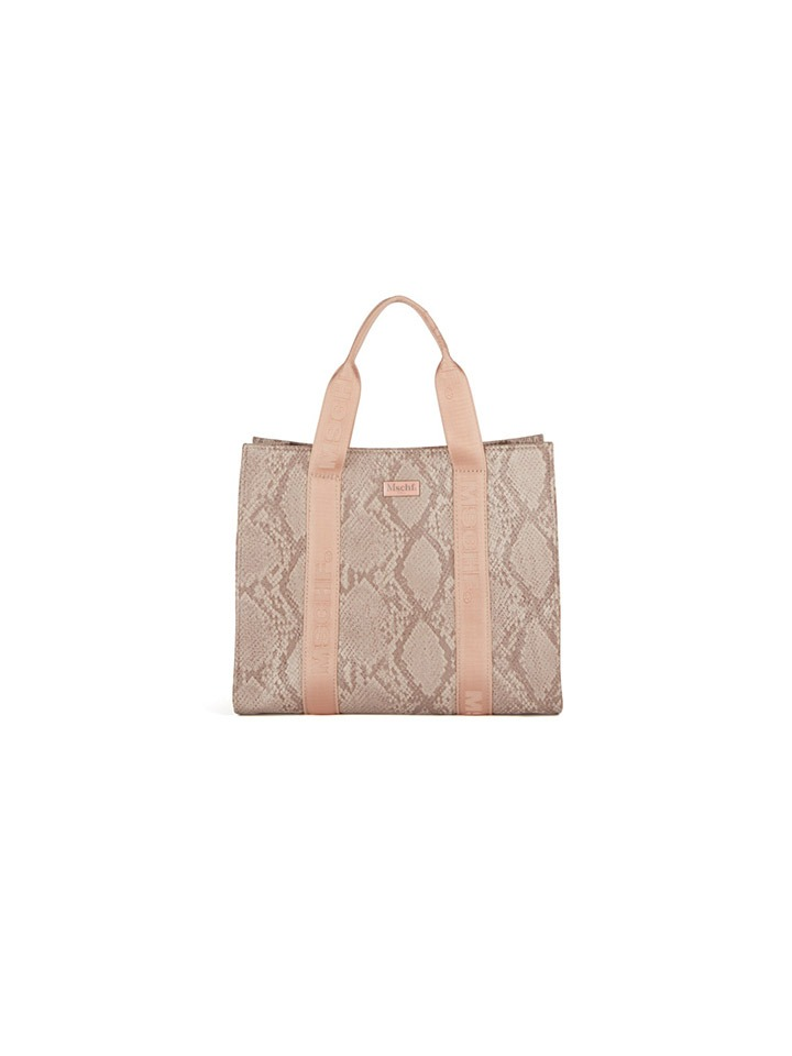 FAUX LEATHER TOTE BAG_faux python pink