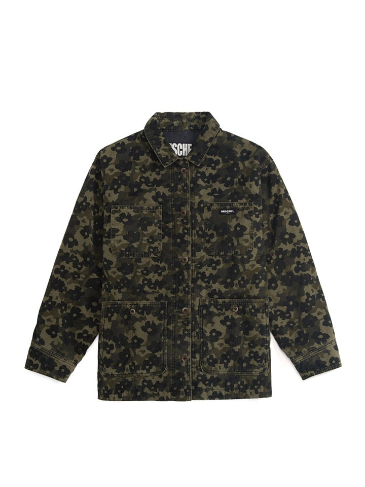 FLOWER CAMO WORK JACKET_khaki/black