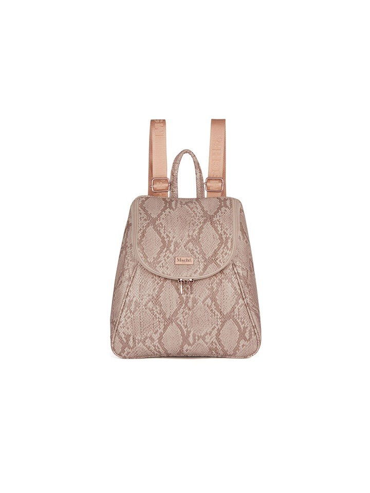 FAUX LEATHER RUCK SACK_faux python pink