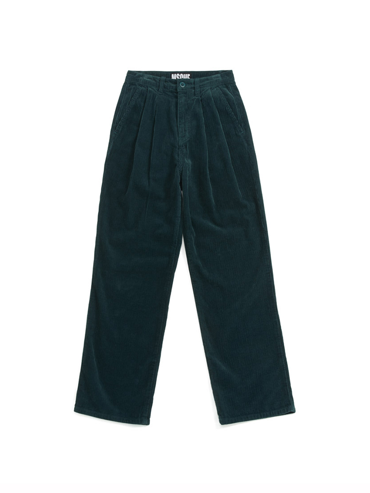 DOUBLE PLEAT CORDUROY TROUSERS_green