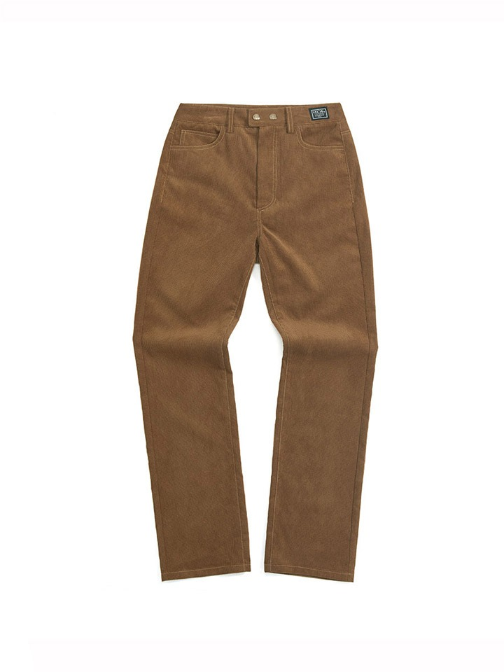 ZIP POCKET CORDUROY SLACKS_camel