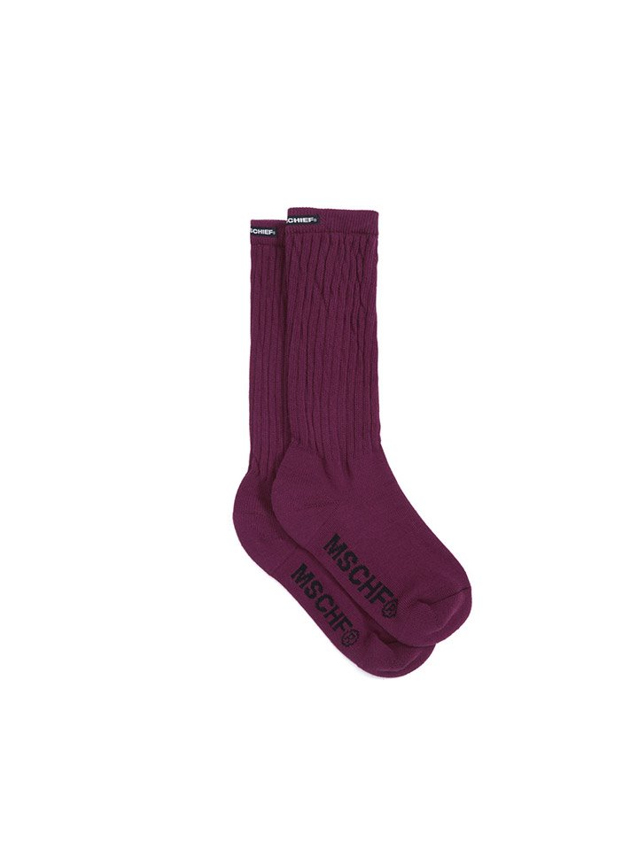 MIDDLE TUBE SOCKS_burgundy