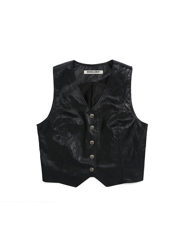 FAUX LEATHER VEST_black