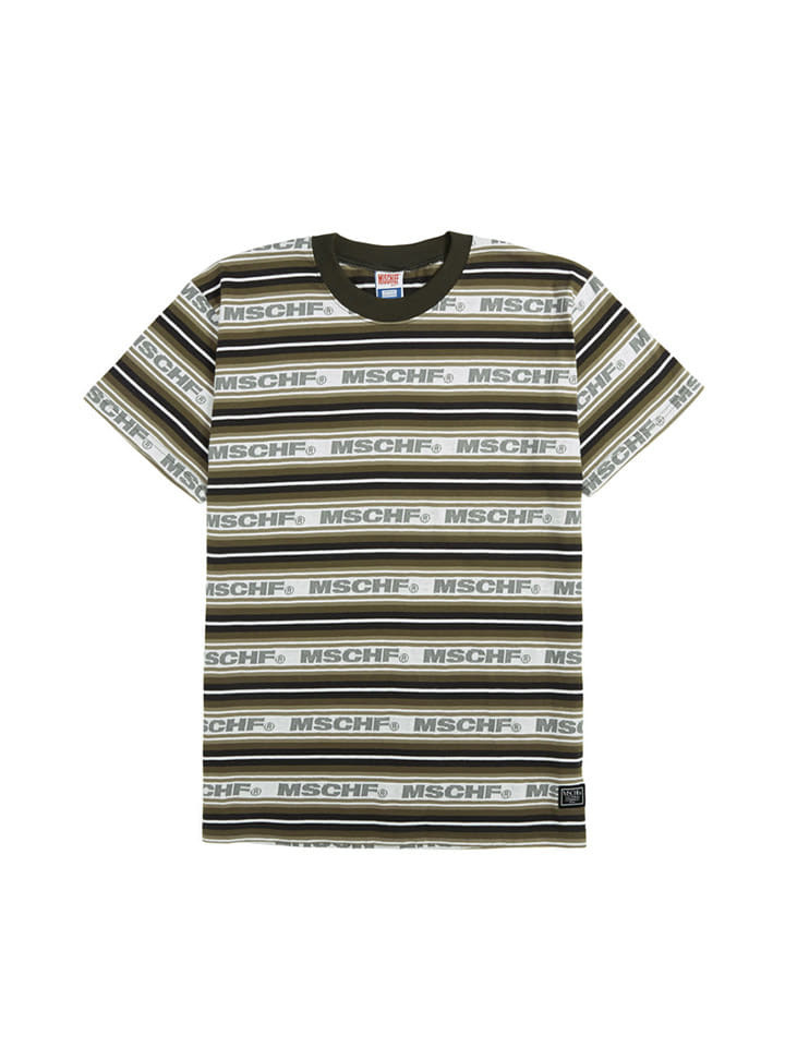STRIPED LOGO TEE_charcoal multi