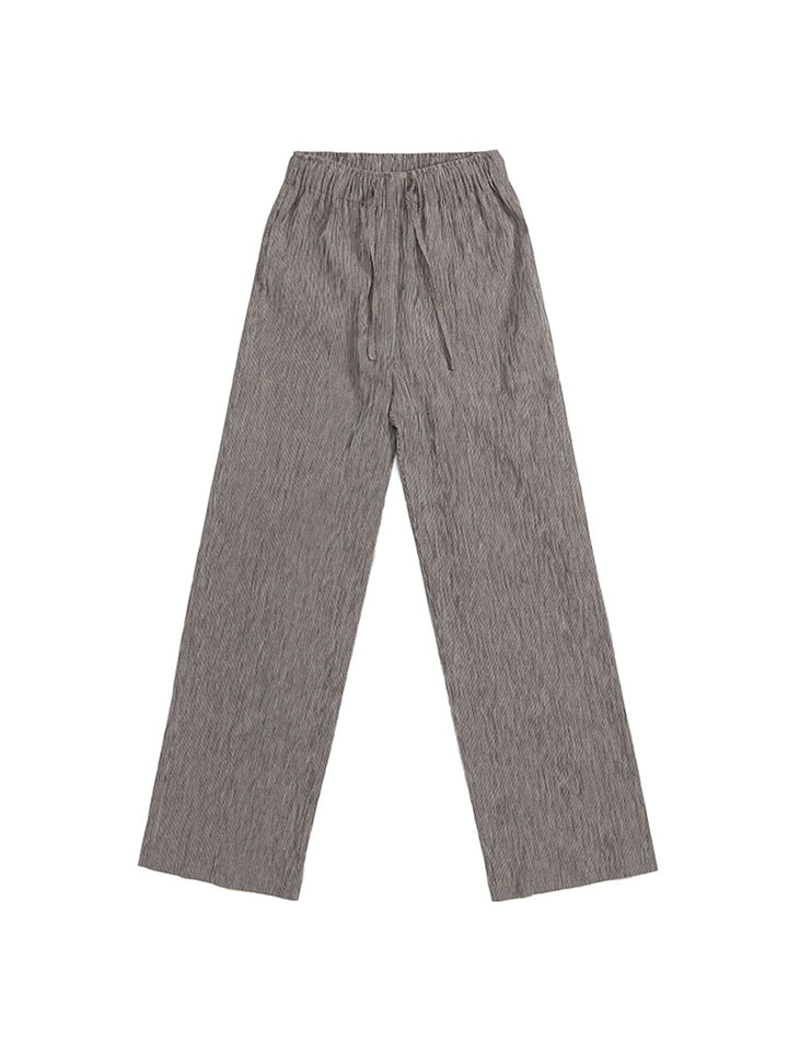 WRINKLED COTTON TROUSERS_beige/gray