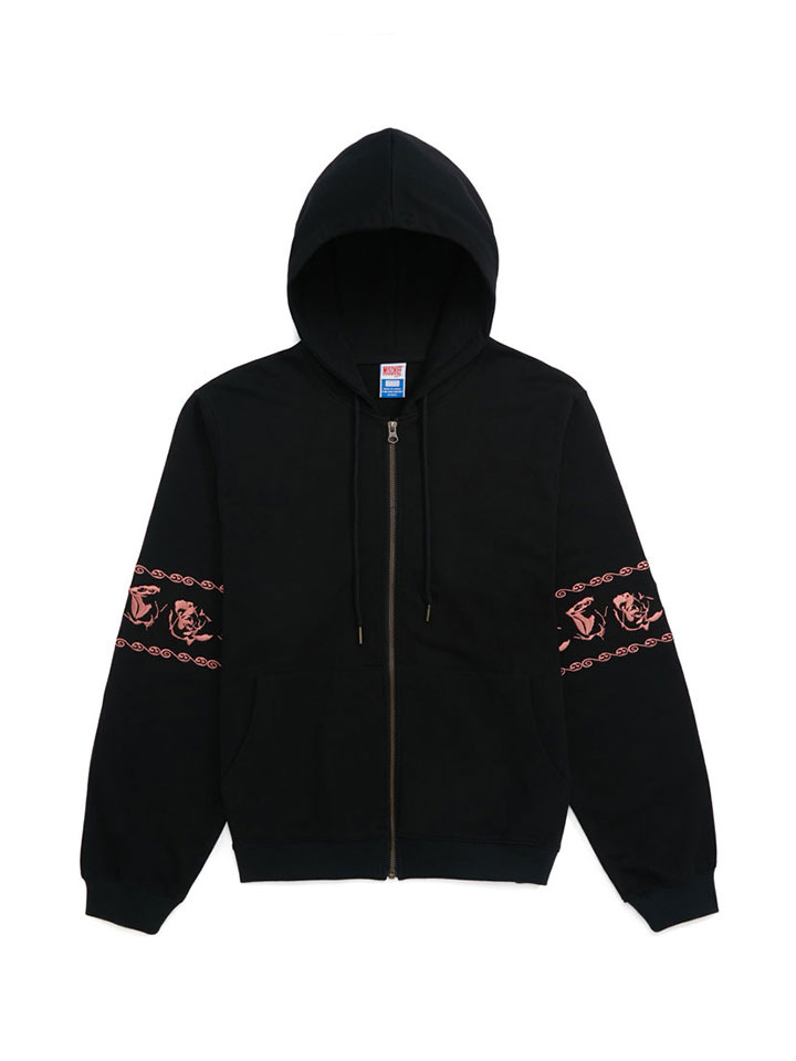 BANDED ZIP HOODY_rose black