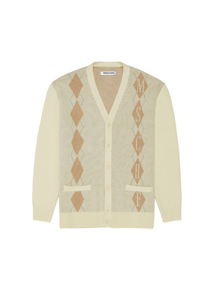 ARGYLE CARDIGAN_cream/beige/gray
