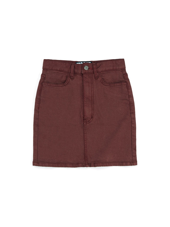 DENIM MINI SKIRT_brown