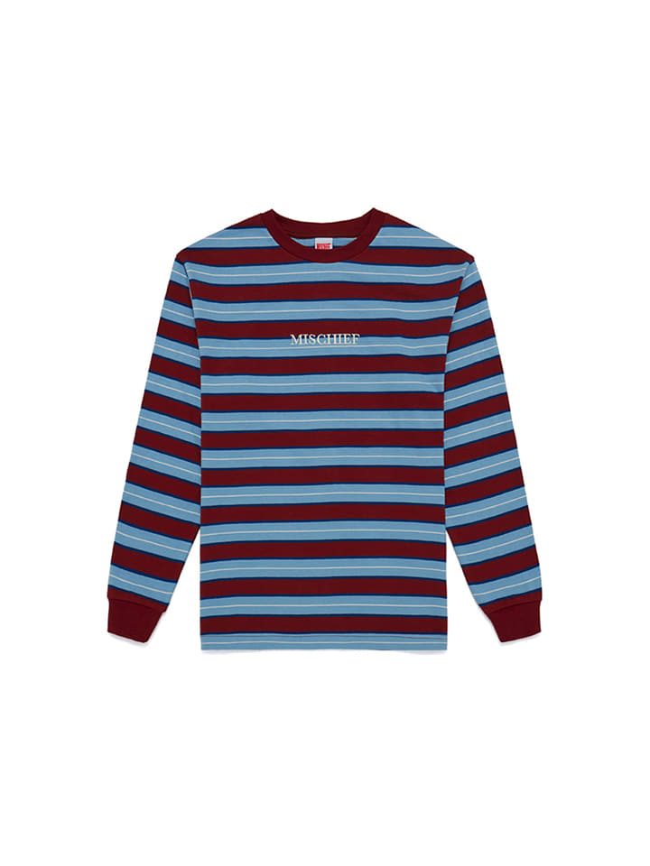 STRIPE LONG SLEEVE_burgundy/columbia blue