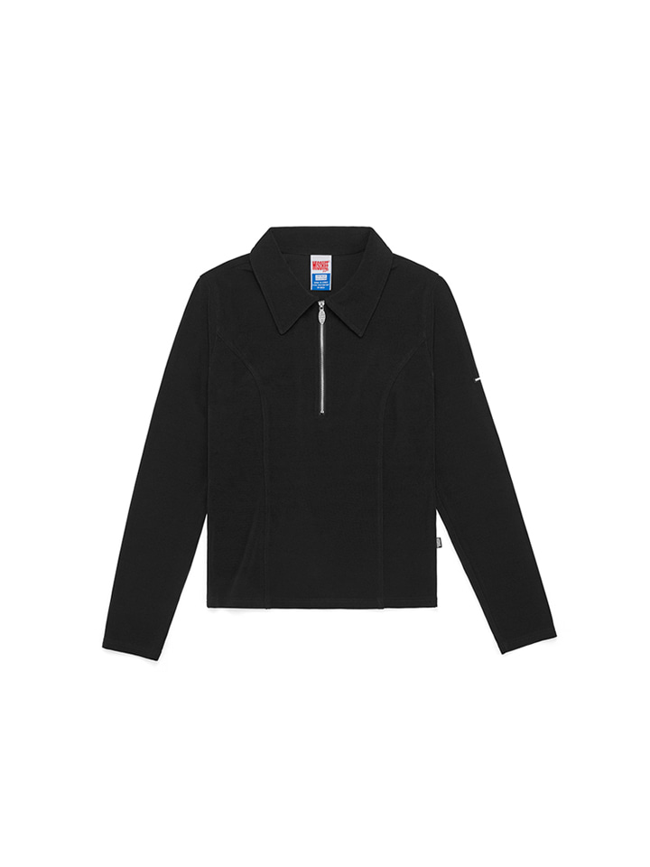 COLLARED ZIP LONG SLEEVE_black