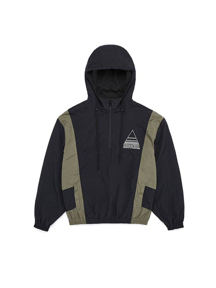 HALF ZIP WINDBREAKER_black/khaki