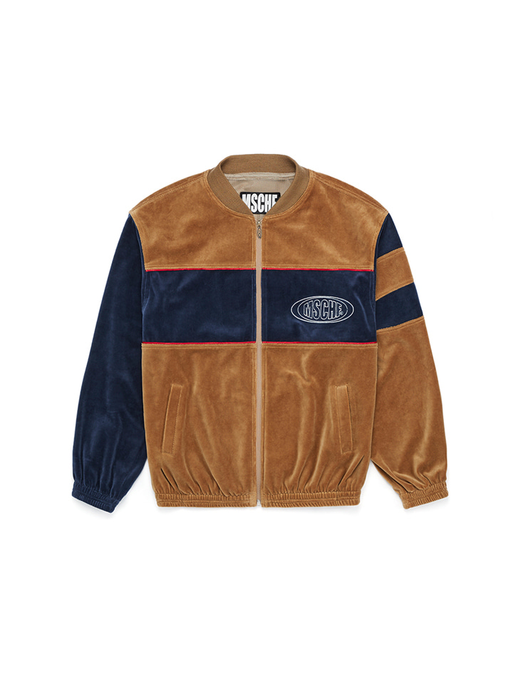VELOUR CLUB JACKET_dark goldenrod/gentian blue