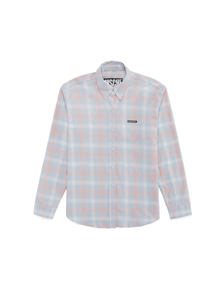 OMBRE CHECK SHIRTS_pale turquoise/peach blossom