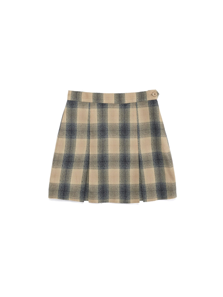 PLEAT SKIRT_beige check