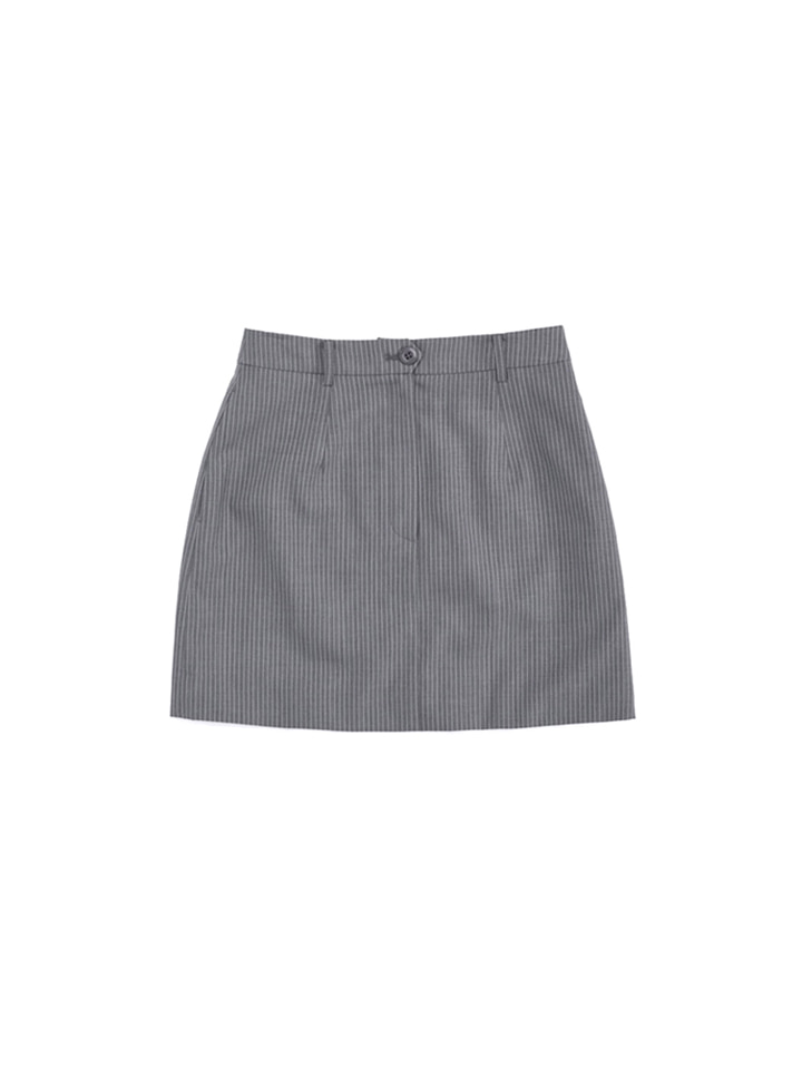 MOD SUIT SKIRT_gray stripe