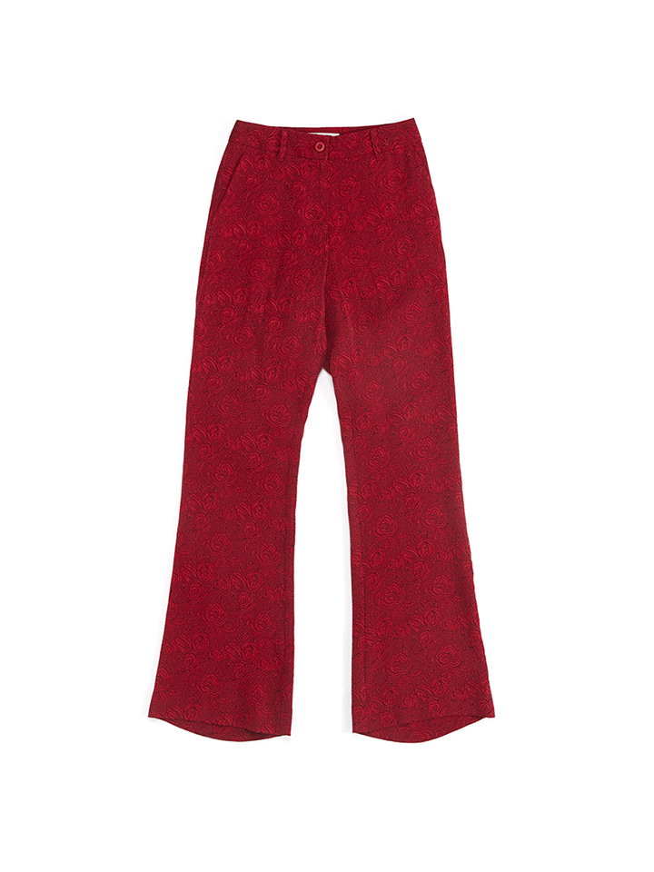 JACQUARD SLACKS_red rose