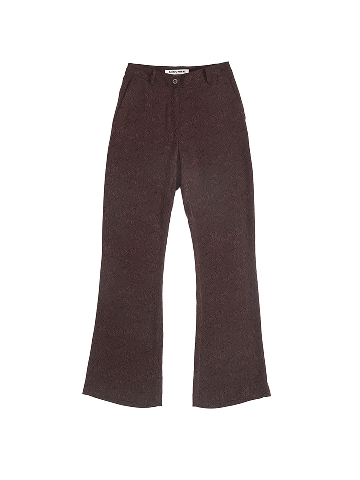 JACQUARD SLACKS_brown rose