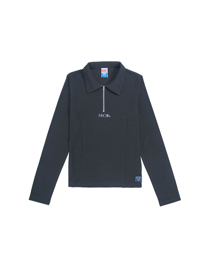 COLLARED ZIP LONG SLEEVE_charcoal