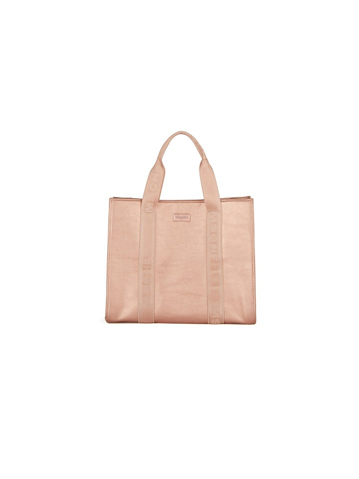 FAUX LEATHER TOTE BAG_metallic pink