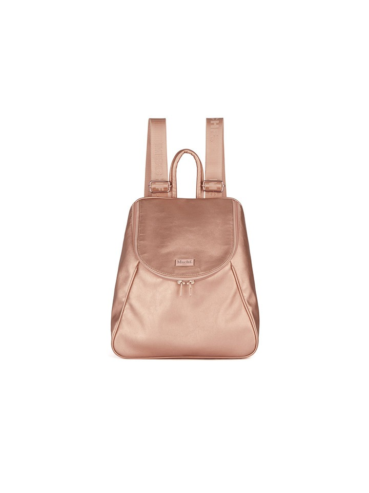 FAUX LEATHER RUCK SACK_metallic pink