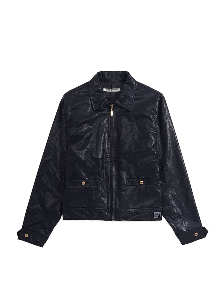 FAUX LEATHER ZIP JUMPER_black