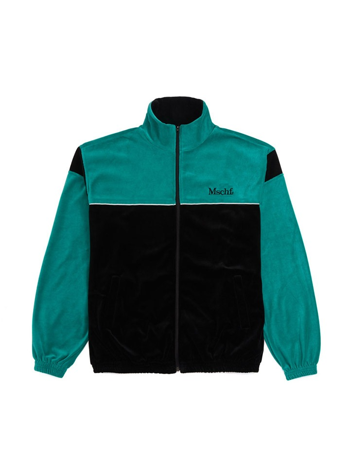 VELOUR ZIP UP_blue green/black