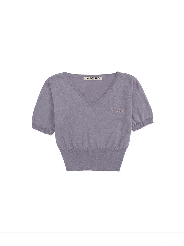 CROPPED V-NECK KNIT_lilac