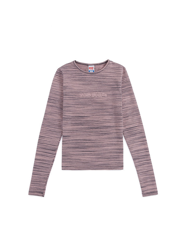 FITTED STRIPE LONG SLEEVE_pink/gray