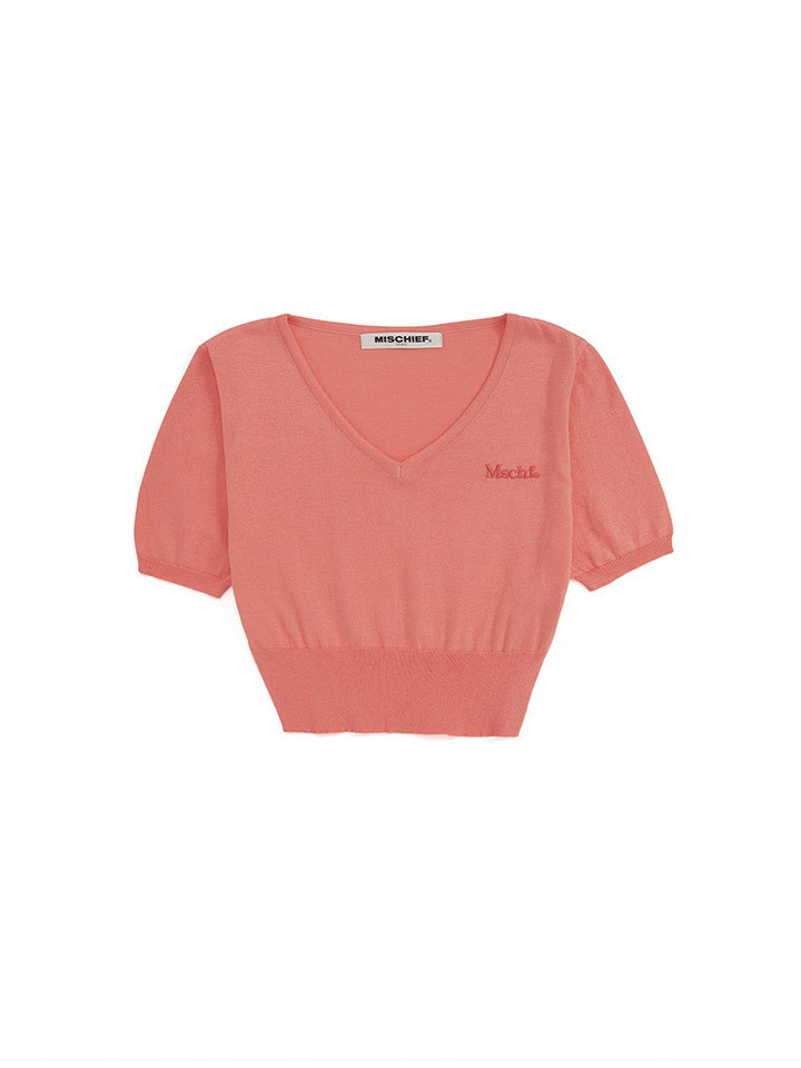 CROPPED V-NECK KNIT_coral