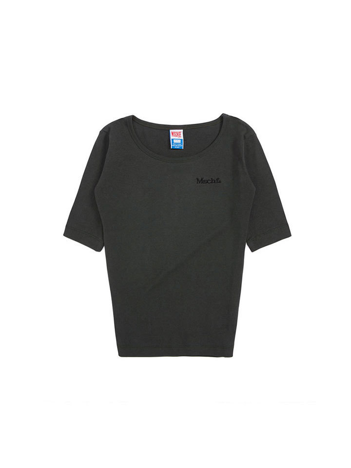 ROUND NECK SURFER TEE_faded black