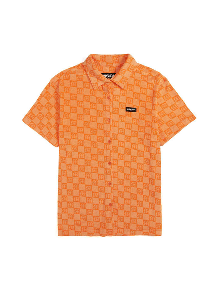 JACQUARD TERRY SHIRT_orange