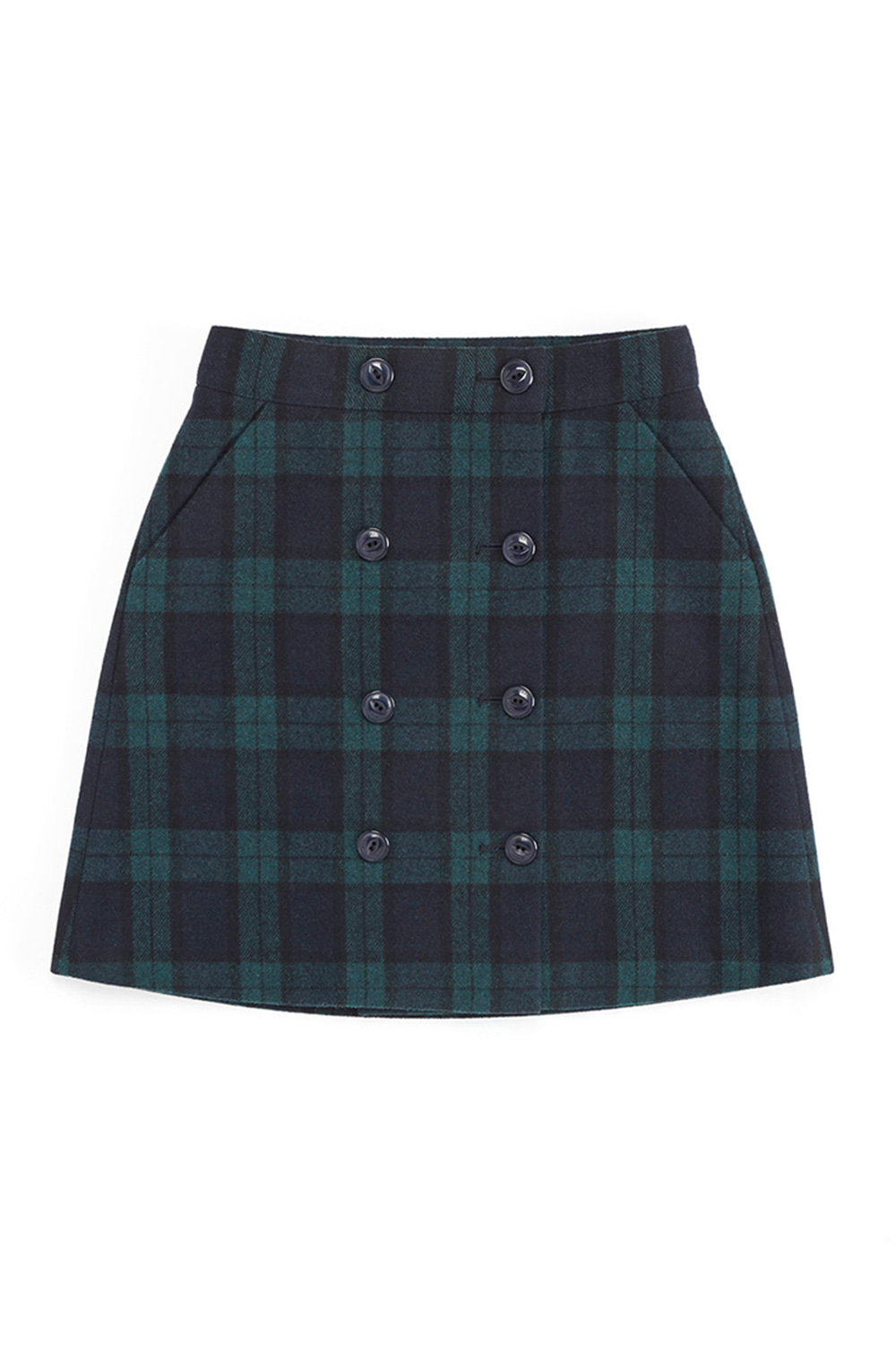 DOUBLE BUTTON-UP SKIRT_navy/green check