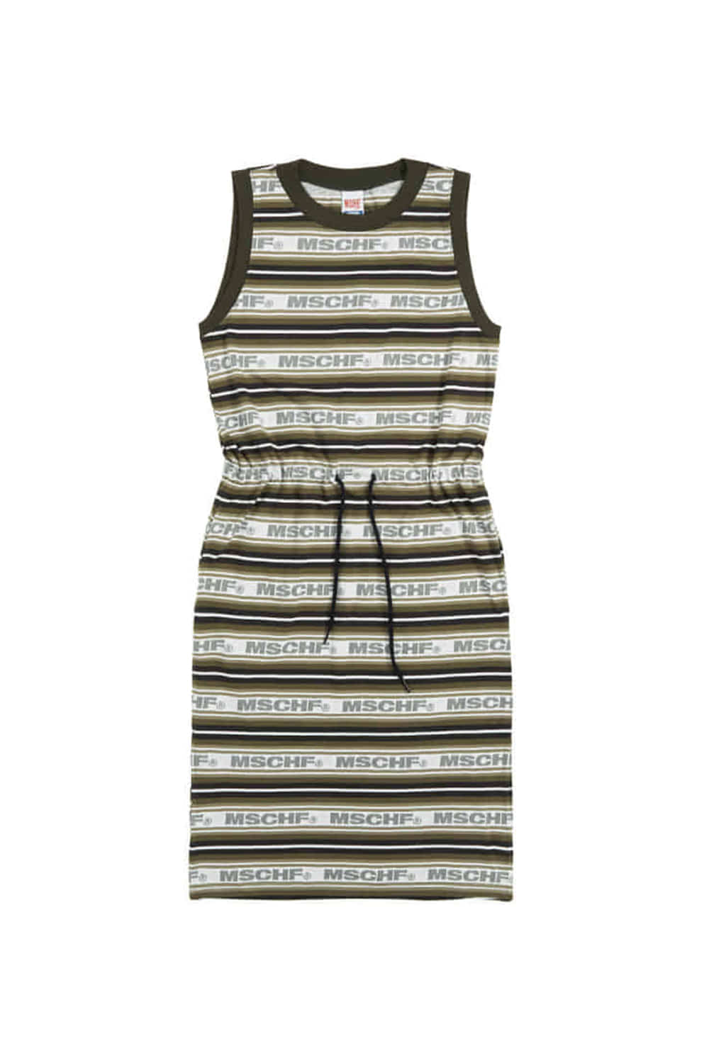 STRIPED LOGO CAMISOLE DRESS_charcoal multi