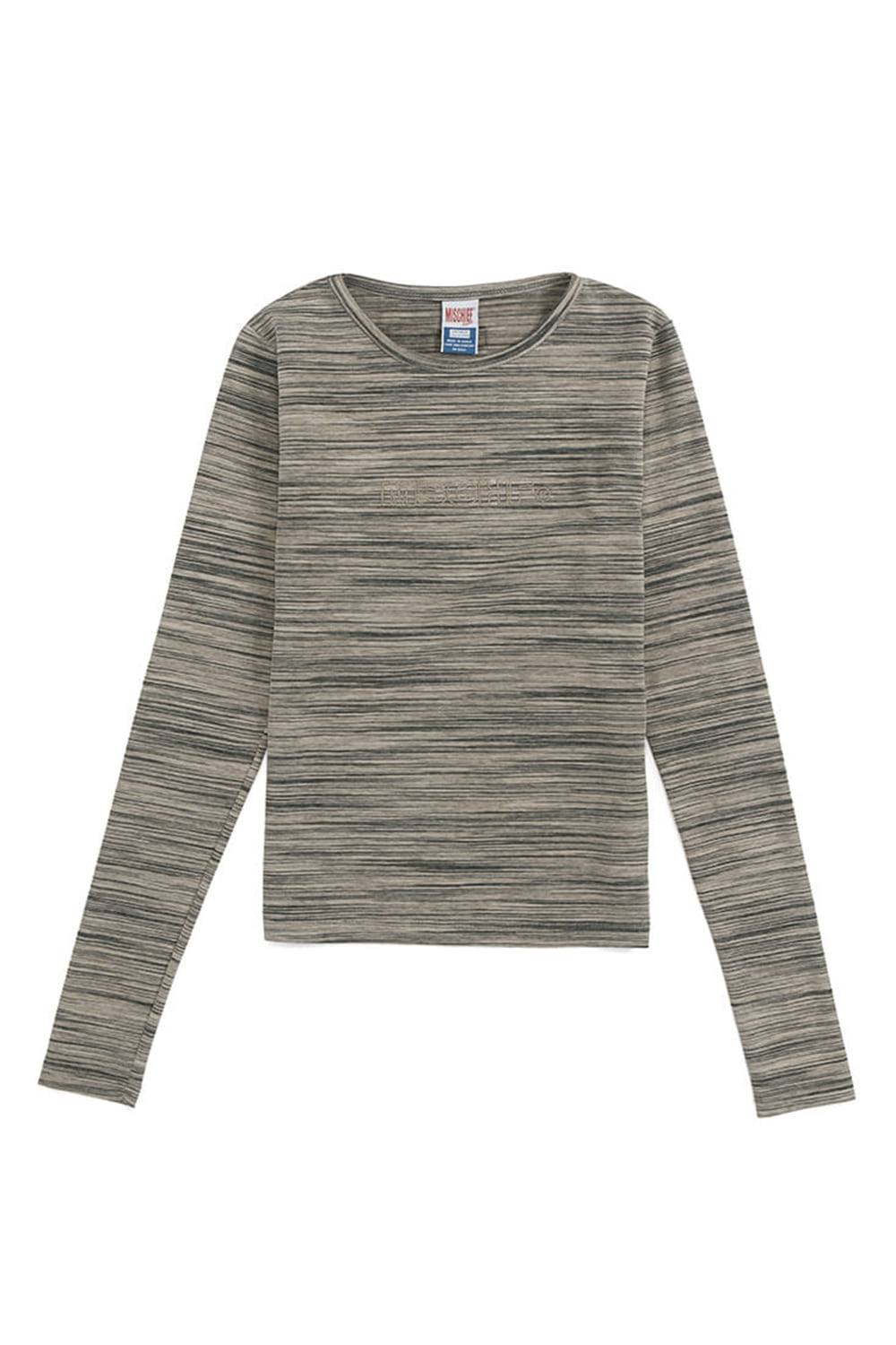 FITTED STRIPE LONG SLEEVE_beige/gray