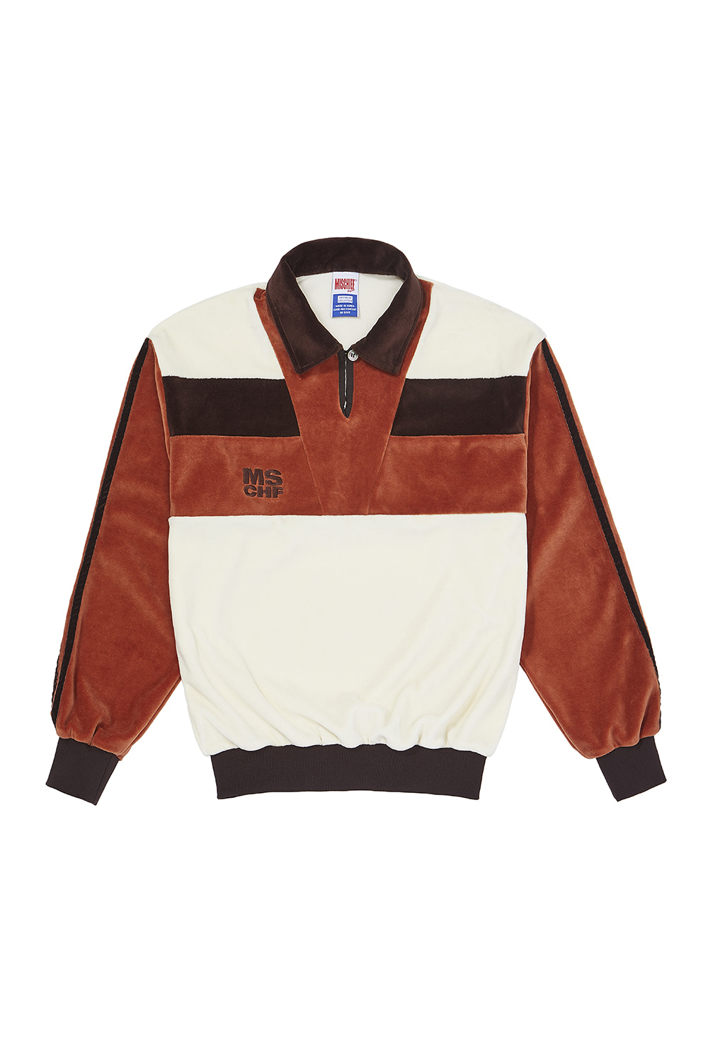 VELOUR COLOR BLOCK JERSEY_brown multi