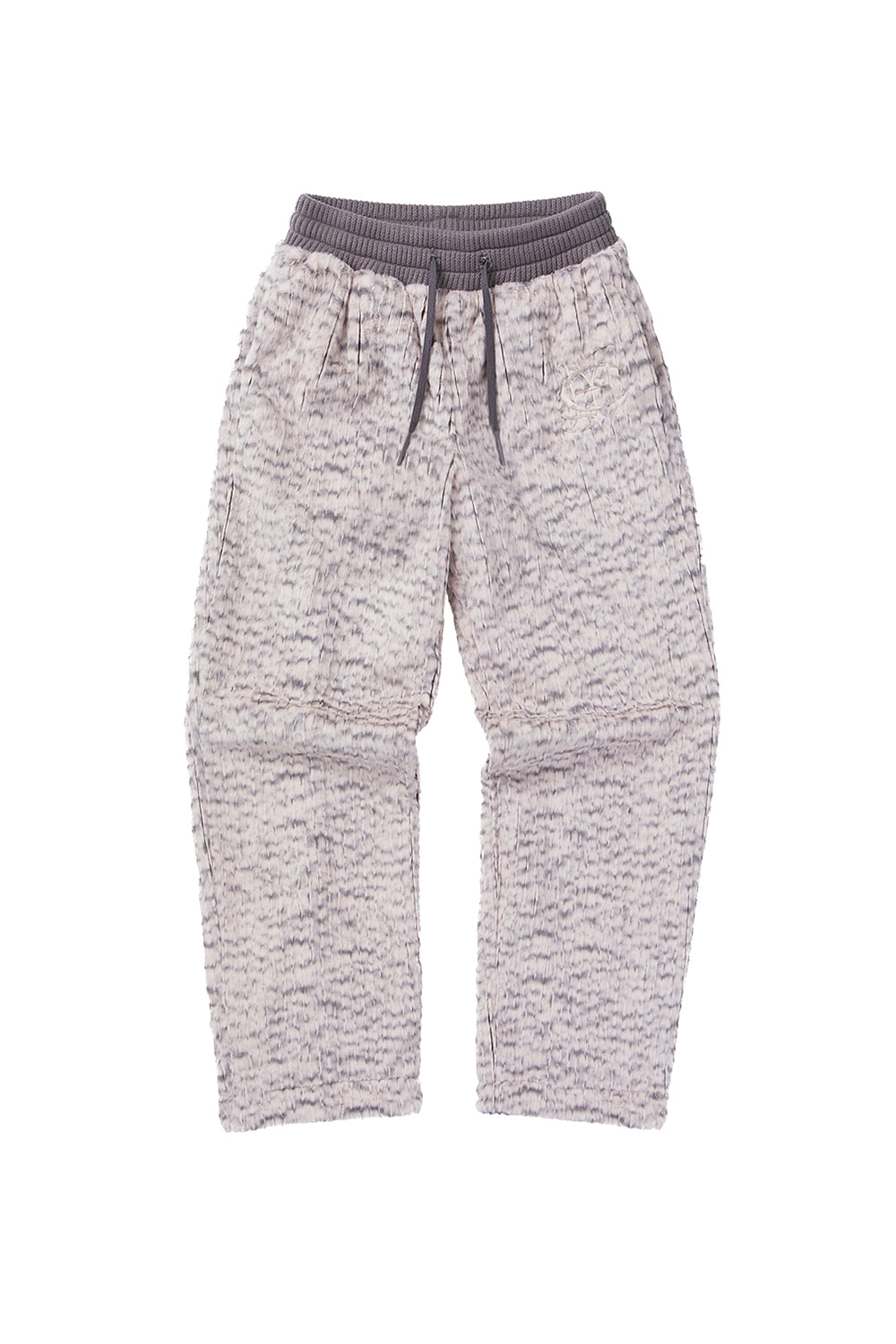 FAUX FUR TRAINING PANTS_pink/gray