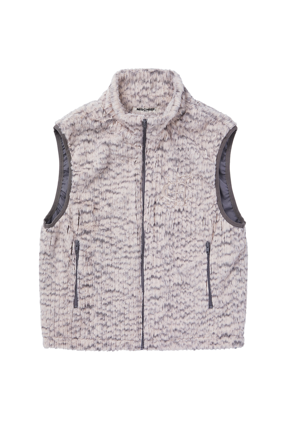 FAUX FUR VEST_pink/gray