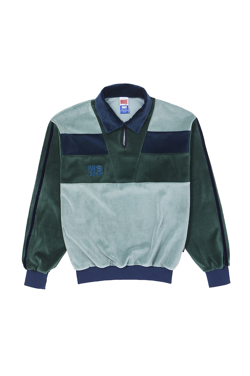VELOUR COLOR BLOCK JERSEY_green multi