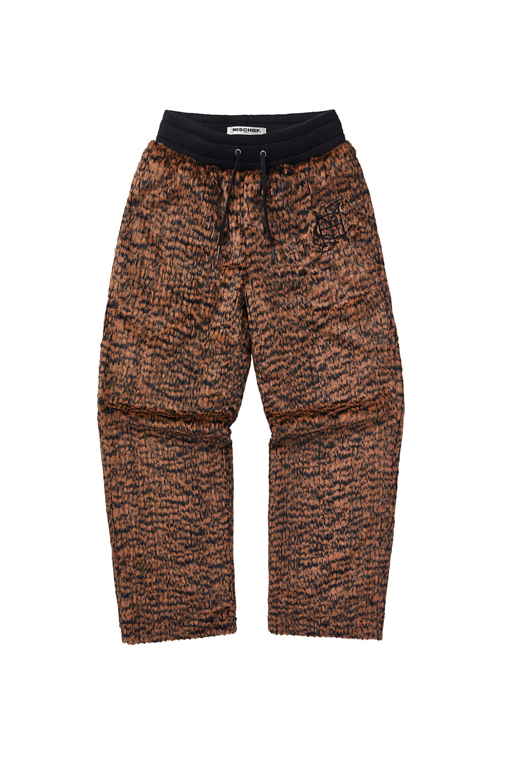 FAUX FUR TRAINING PANTS_light brown/black