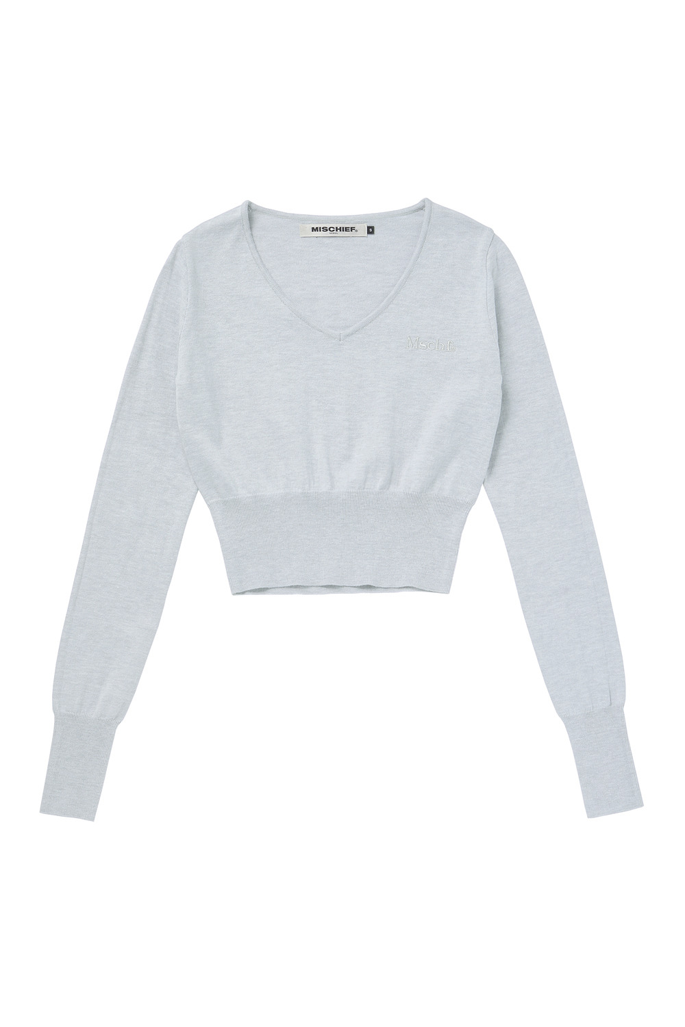 CROPPED KNIT_white melange