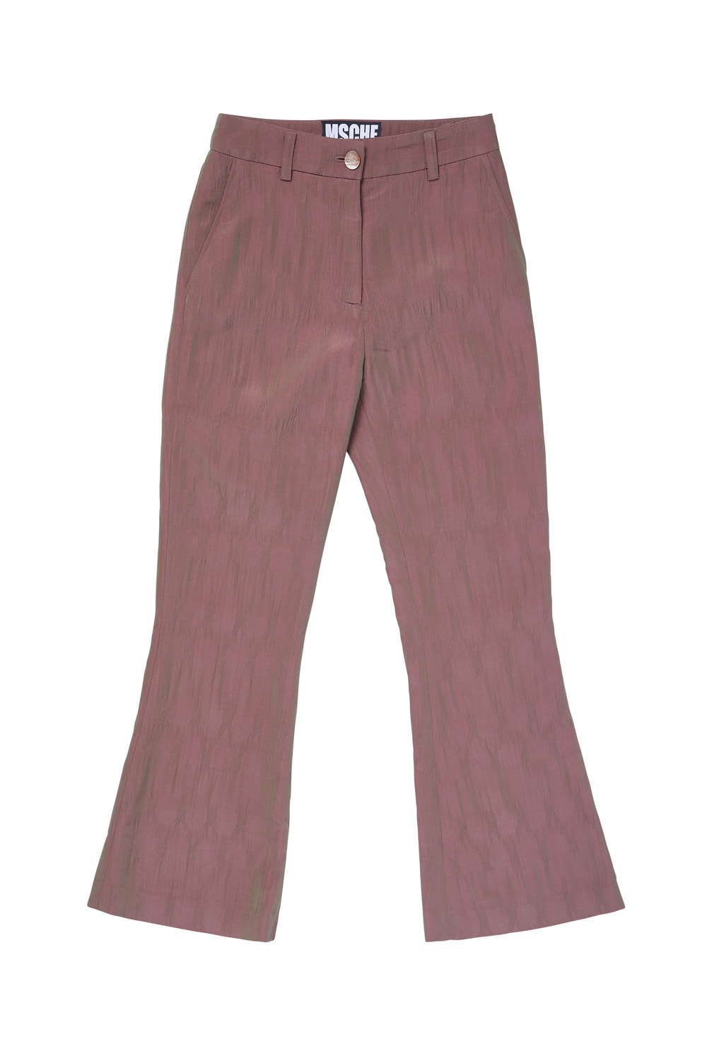 TWO-TONE CRINKLE BOOTCUT PANTS_pink/green