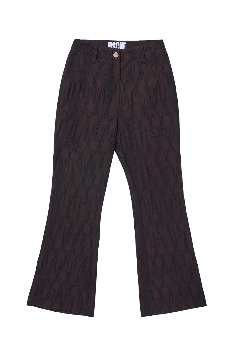 TWO-TONE CRINKLE BOOTCUT PANTS_brown/light brown