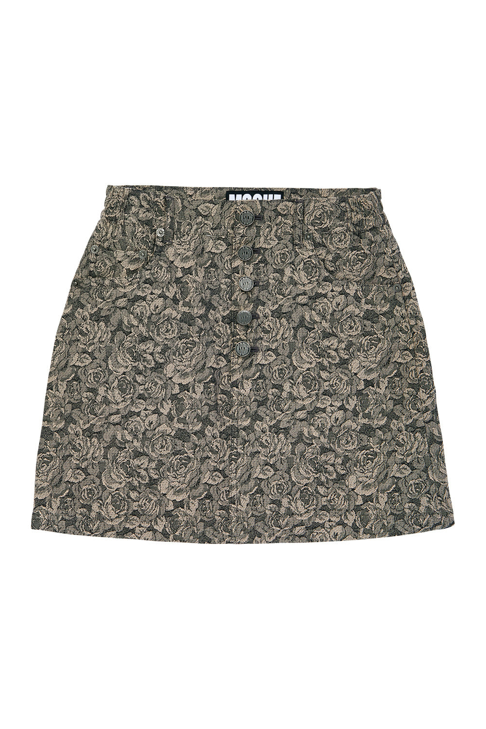 JACQUARD BUTTON UP SKIRT_beige rose