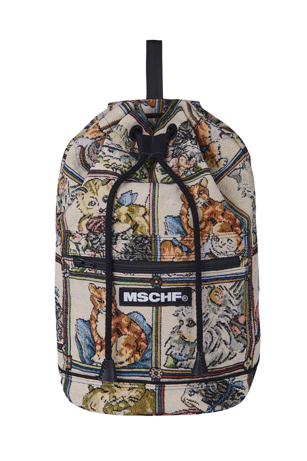 CAT DRAWSTRING BACKPACK_beige/black
