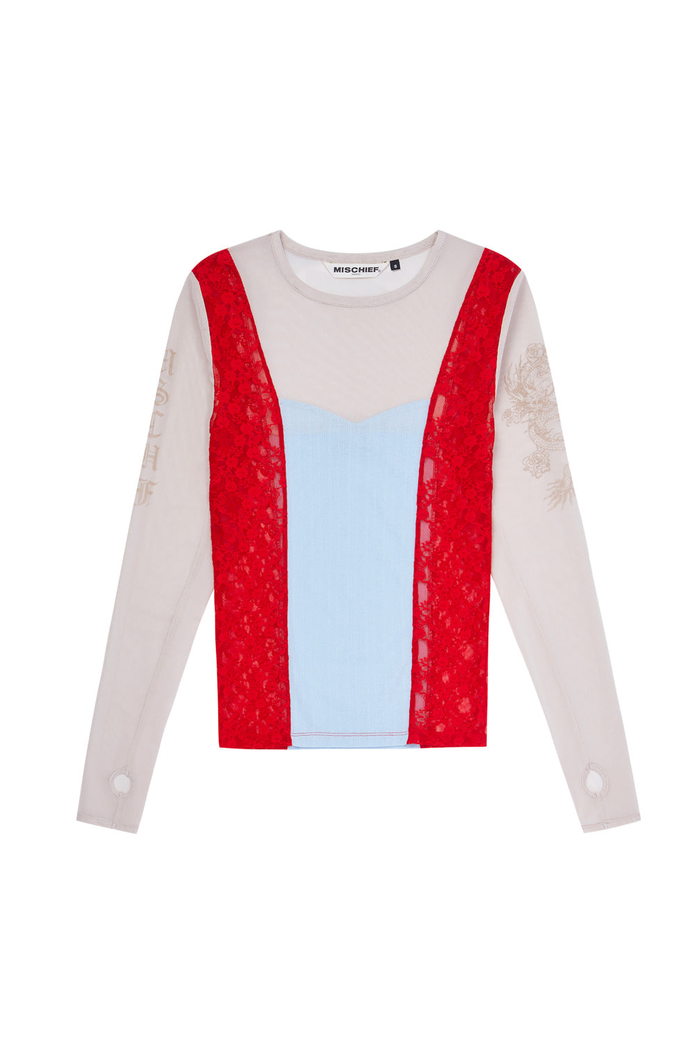 MESH PATCHWORK FITTED LONG SLEEVE_beige/red/sky blue